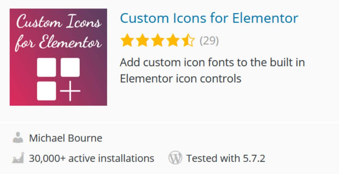 Addon Custom icons pour Elementor