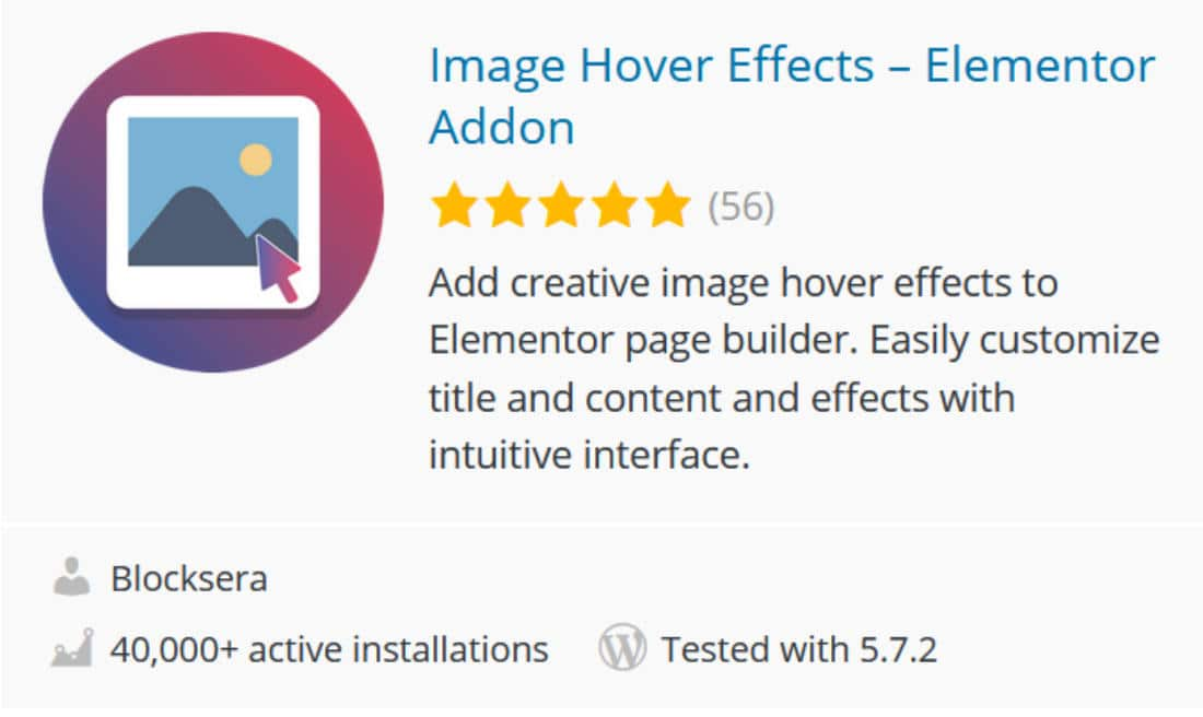 Image Hover Effects addon Elementor
