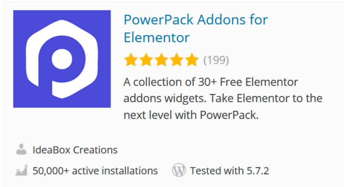 Powerpack addons pour Elementor