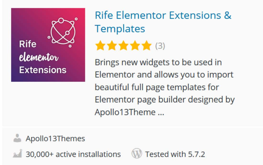 Addon pour Elementor : Rife Elementor Extensions