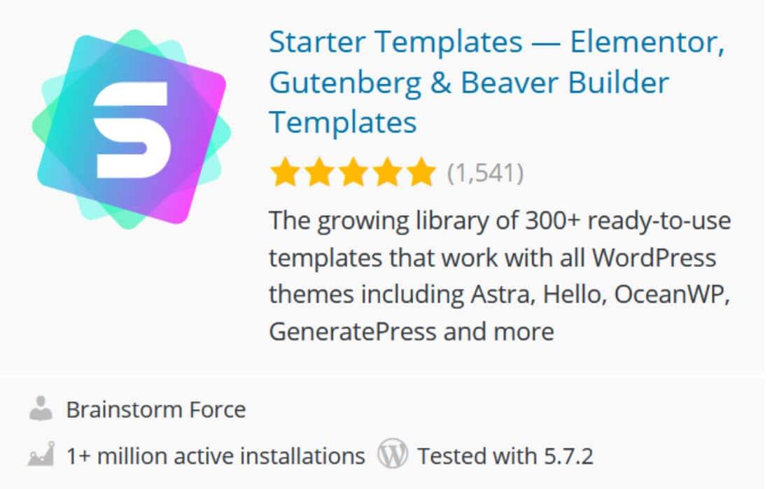 Starter template pour Elementor