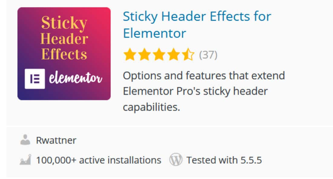 Sticky header effects pour Elementor