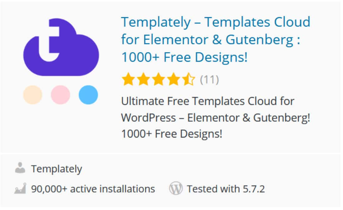 Templately addon pour Elementor