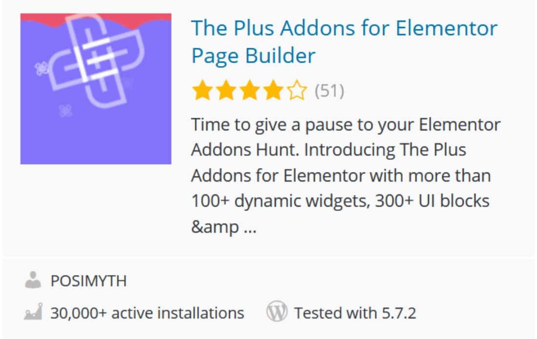 The plus addons addon Elementor