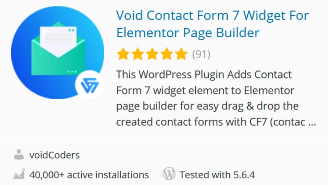 Void contact form Elementor Addon